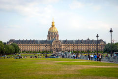 View on Les Invalides building with golden dome, Paris Royalty Free Stock Photos
