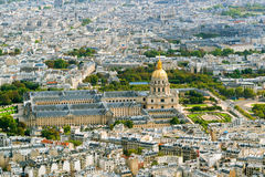 View of Les Invalides from the Eiffel Tower Royalty Free Stock Photography