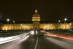 View of Les Invalides hospital and chapel. Dome in the night Stock Images
