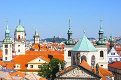 View from the Lesser tower on the Charles Bridge of Prague Stock Photo