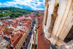 View of Lesser town Mala Strana and St. Nicholas Church. Pragu. E, Czech Republic Royalty Free Stock Photography