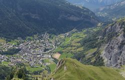 View on Leukerbad. Fantastic view on Leukerbad, beautiful mountain in summer and green meadow in Switzerland. City of Leukerbad, canton Valais, high Gemmipass on stock image