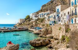 View of Levanzo Island, is the smallest of the three Aegadian islands in the Mediterranean sea of Sicily, Italy. View of Levanzo Island, is the smallest of the royalty free stock photo
