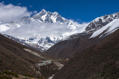 View of the Lhotse. PANGBOCHE, NEPAL - CIRCA OCTOBER 2013: view of the Lhotse circa October 2013 in Pangboche Stock Photo