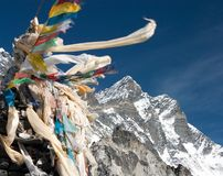 View of Lhotse peak with prayer flags Stock Image