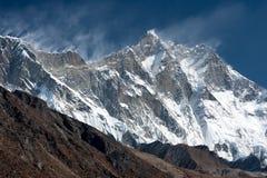 View of Lhotse from Pheriche. The South Face of Mt. Lhotse from Pheriche Pass, Solukhumbu, Nepal Stock Photo