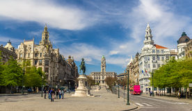 View of the Liberty square in Porto Royalty Free Stock Photos