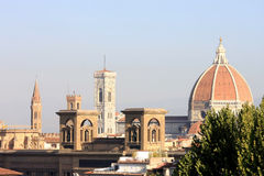 View at the Library and the Basilica of Florence Royalty Free Stock Images