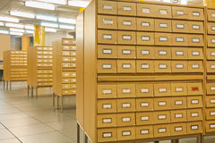 View on library wooden card catalog Stock Photos