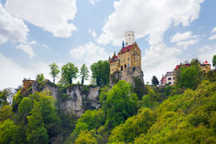 View of the Lichtenstein castle on cliff, Germany Stock Photo