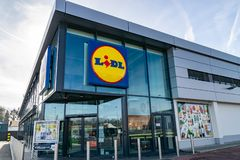 View of Lidl supermarket and logo.