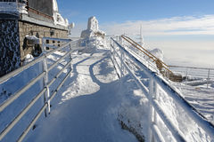 View on the lift-station Lomnicky Stit. Stock Images