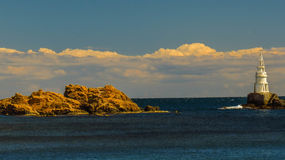 View of the lighthouse of Ahtopol, from the pier, Bulgaria stock photo