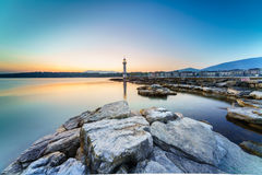 Sunrise at lake in the Cityscape Royalty Free Stock Photography