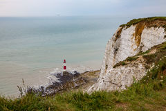 View of the lighthouse at Beachy Head in Sussex showing the tide Royalty Free Stock Image