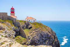 Lighthouse at Cabo de Sao Vicente, Algarve, Portugal royalty free stock photo