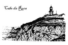 View of the Lighthouse at Cape Roca in Sintra  illustration Stock Photo
