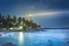 View of lighthouse Dondra Matara, Sri Lanka. View of lighthouse Dondra and lights at night Matara, Sri Lanka Royalty Free Stock Photography