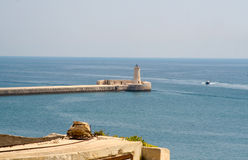 View of lighthouse in Grand Harbour, Valletta, Malta Royalty Free Stock Photography