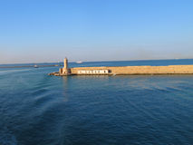 View on the lighthouse and harbour Stock Image