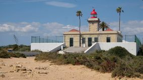 View on lighthouse in Lagos Portugal stock footage
