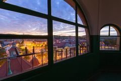 View from the lighthouse for the main square in Sopot city at sunset, Poland. Sopot, Poland - September 30, 2018: View from the lighthouse for the main square in royalty free stock photo