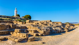 View of lighthouse and Paphos Archaeological Park Royalty Free Stock Photo