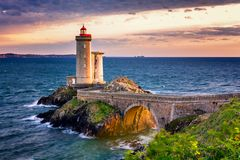 View of the lighthouse Phare du Petit Minou in Plouzane, Brittany (Bretagne), France. stock images