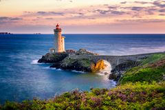 View of the lighthouse Phare du Petit Minou in Plouzane, Brittany Bretagne, France.  royalty free stock image