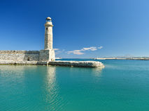 View of the lighthouse in the port of Rethymnon Royalty Free Stock Images