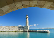 View of the lighthouse in the port of Rethymnon Stock Photos