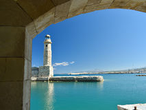 View of the lighthouse in the port of Rethymnon Royalty Free Stock Photo