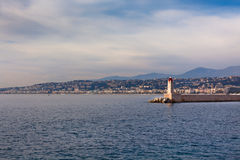 View on Lighthouse and Quay of Nice, France Royalty Free Stock Photos