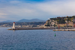 View on Lighthouse and Quay of Nice, France Stock Images