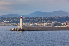 View on Lighthouse and Quay of Nice, France Royalty Free Stock Images