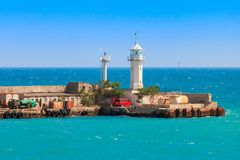 A view of the lighthouse in Yalta. Port. Crimea. Stock Photo