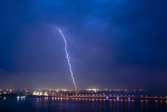 View of a lightning over city at night Royalty Free Stock Photos