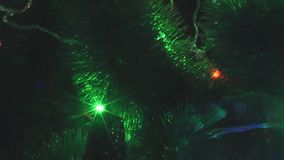 View of lights illuminating in a xmas tree stock video footage