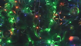 View of lights illuminating in a xmas tree stock video