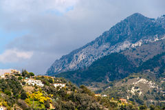 View of Ligurian Alps near Menton - France. View of Ligurian Alps near Menton from the Mediterranean Sea - France Royalty Free Stock Photo