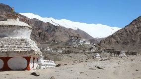 View of likir Monastery with seated Buddha on the hill. In Ladakh India stock video footage