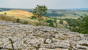 View of the Limestone Pavement above Malham Cove in the Yorkshir. E Dales National Park Royalty Free Stock Image