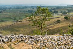 View of the Limestone Pavement above Malham Cove in the Yorkshir. E Dales National Park Stock Photography
