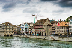 View on the Limmat river. Zurich is the largest city in Switzerl Stock Photography