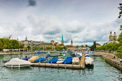 view on the Limmat river. Zurich is the largest city in Switzerland and the capital of the canton of Zurich. stock image
