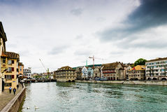 View on the Limmat river. Zurich is the largest city in Switzerl Royalty Free Stock Image
