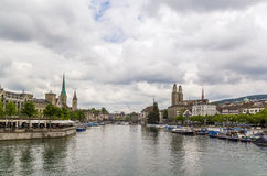 View of Limmat river in Zurich Stock Image