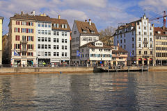 View of Limmat river and Zurich, Switzerland Stock Photos
