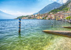 View on Limone sul Garda on Lake Garda and Alps mountains in Italy, HDR image Stock Photos