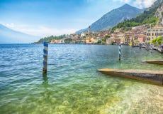 View on Limone sul Garda on Lake Garda and Alps mountains in Italy, HDR image stock photos